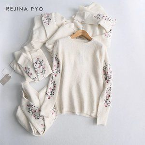 Soft Knit Spring Sweater with Floral Embroidery